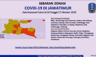 Zona kuning tembus 60 persen, kasus aktif Covid-19 di Jatim terendah ke 2 Se Indonesia.