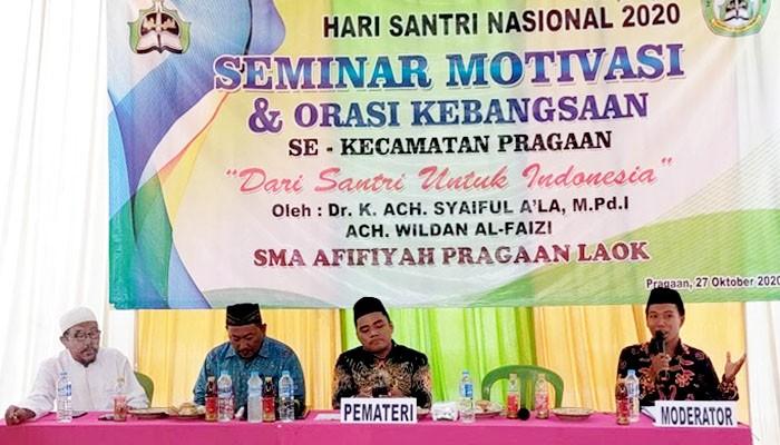 Peringati HSN 2020, SMA Afifiyah Pragaan Laok gelar seminar motivasi santri.