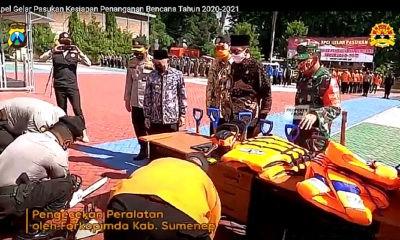 Kapolres Sumenep AKBP Darman mengikuti apel pasukan gabungan penanganan bencana pada Kamis (13/11)