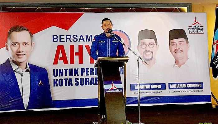 Ingin menangkan MaJu di Pilwali Surabaya, AHY ingatkan kesiapan saksi di TPS.