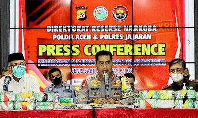 Polda Aceh berhasil ungkap peredaran sabu 61 kg jaringan internasional.