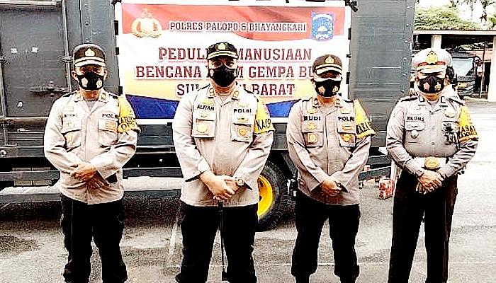 Polres Palopo krim bantuan bencana alam di Mamaju.