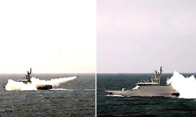 Rudal C-705 KRI Clurit-641 dan KRI Kujang 642 berhasil tenggelamkan kapal tanker KRI Balikpapan dalam jarak 70 km