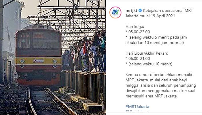 Perubahan jadwal baru operasional MRT mulai Senin (19/4).