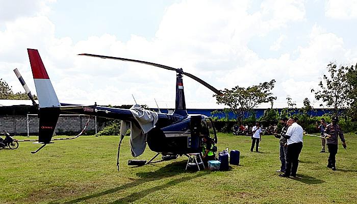 Masalah navigasi, helikopter BNPB mendarat darurat di Grobogan.