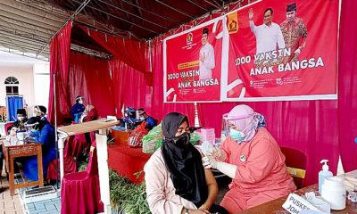 Gandeng Laskar Sholawat Nusantara, Gerindra Jatim Gelar 1000 Vaksin Anak Bangsa di Jember